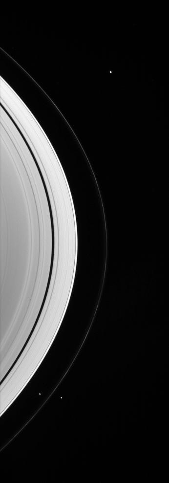 Prometheus, Pandora, and Janus near Saturn's rings