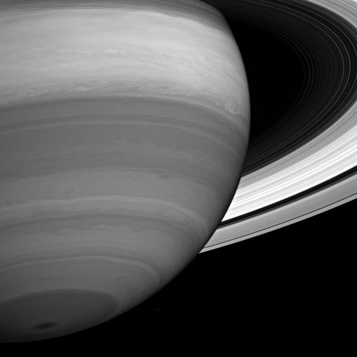 Storms and cloud bands emerge from beneath Saturn's obscuring hazes in this infrared view