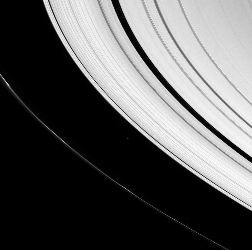 The small moon Atlas and parts of Saturn's rings
