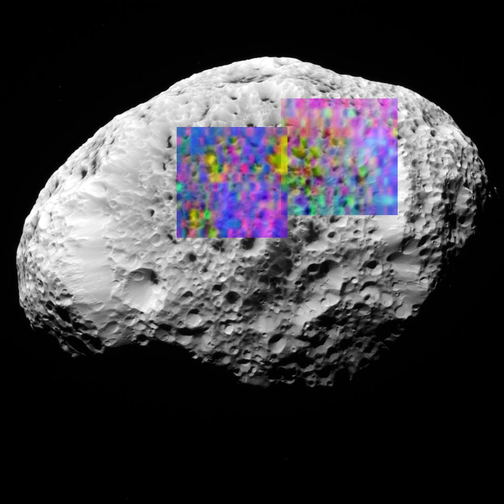 A color map showing the composition of a portion of Hyperion's surface determined with the Visual and Infrared Mapping Spectrometer