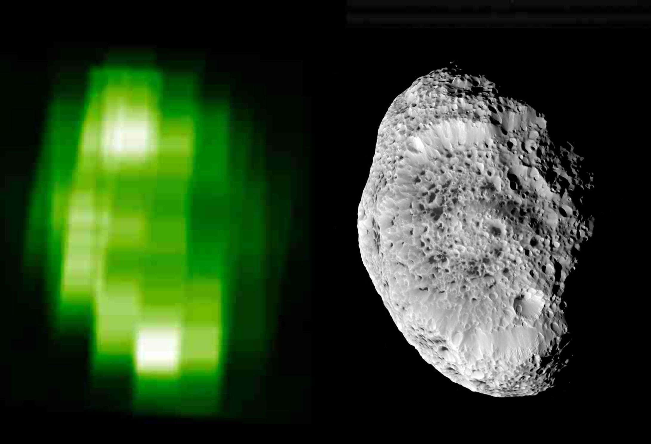 An ultraviolet image of Hyperion (left) and Hyperion (right)