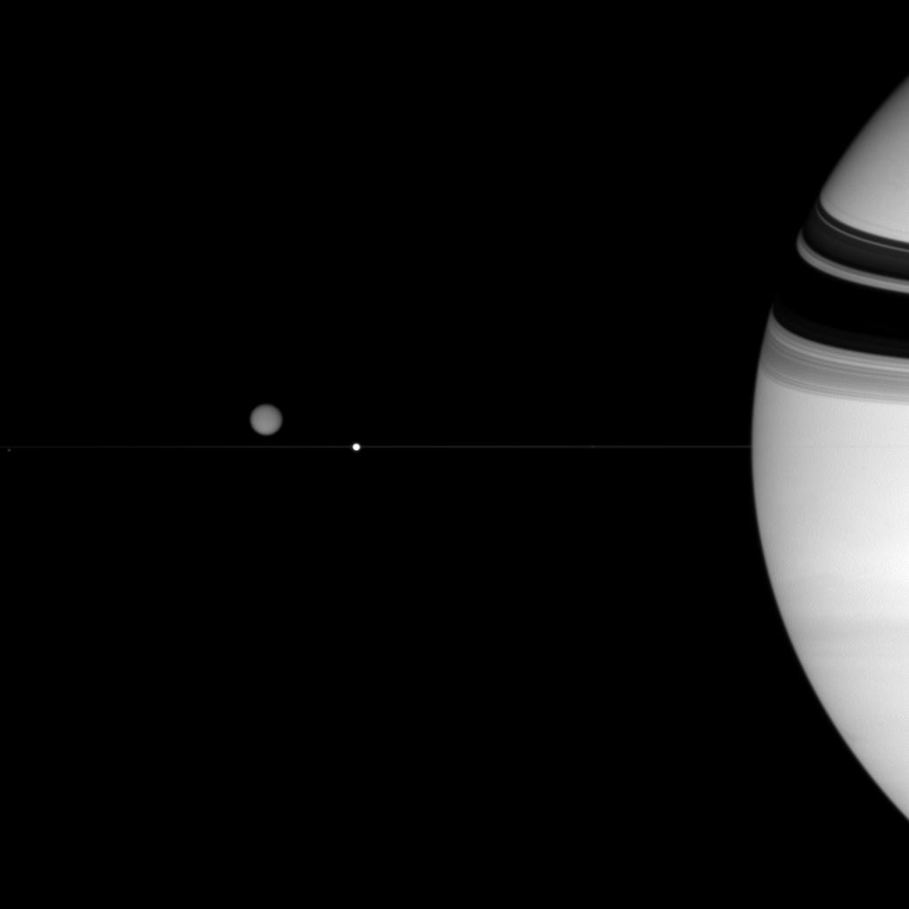 Saturn, Titan, Epimetheus and Enceladus