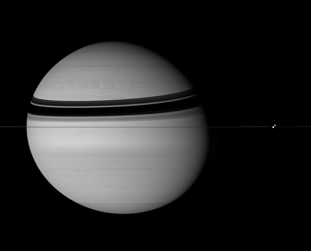 Dione, Tethys and Saturn
