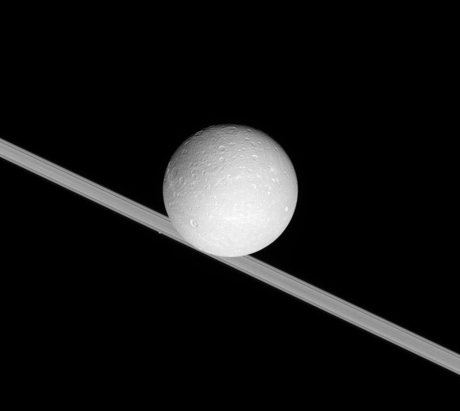 Saturn's Ring with Dione and Atlas