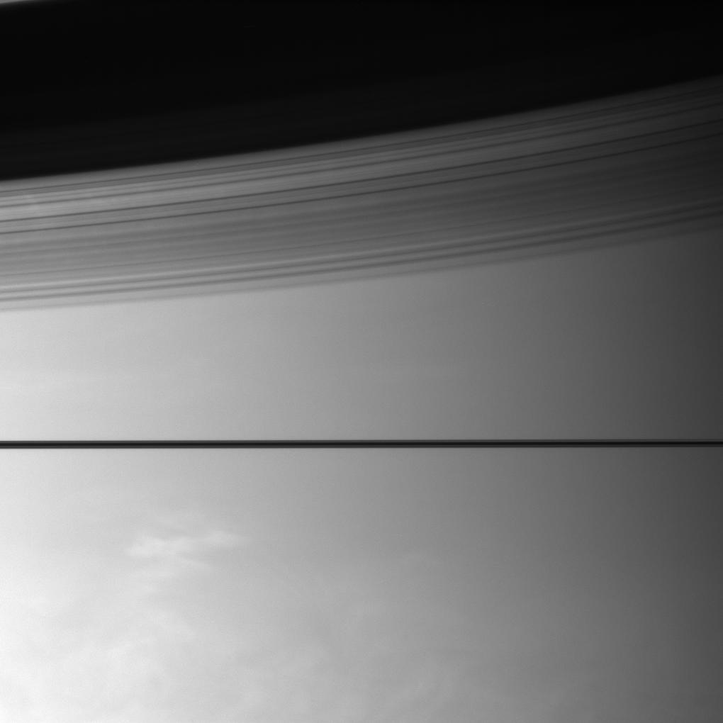 Saturn's rings cast shadows on the planet