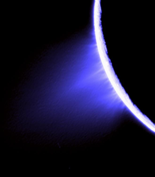 False-color view of Enceladus