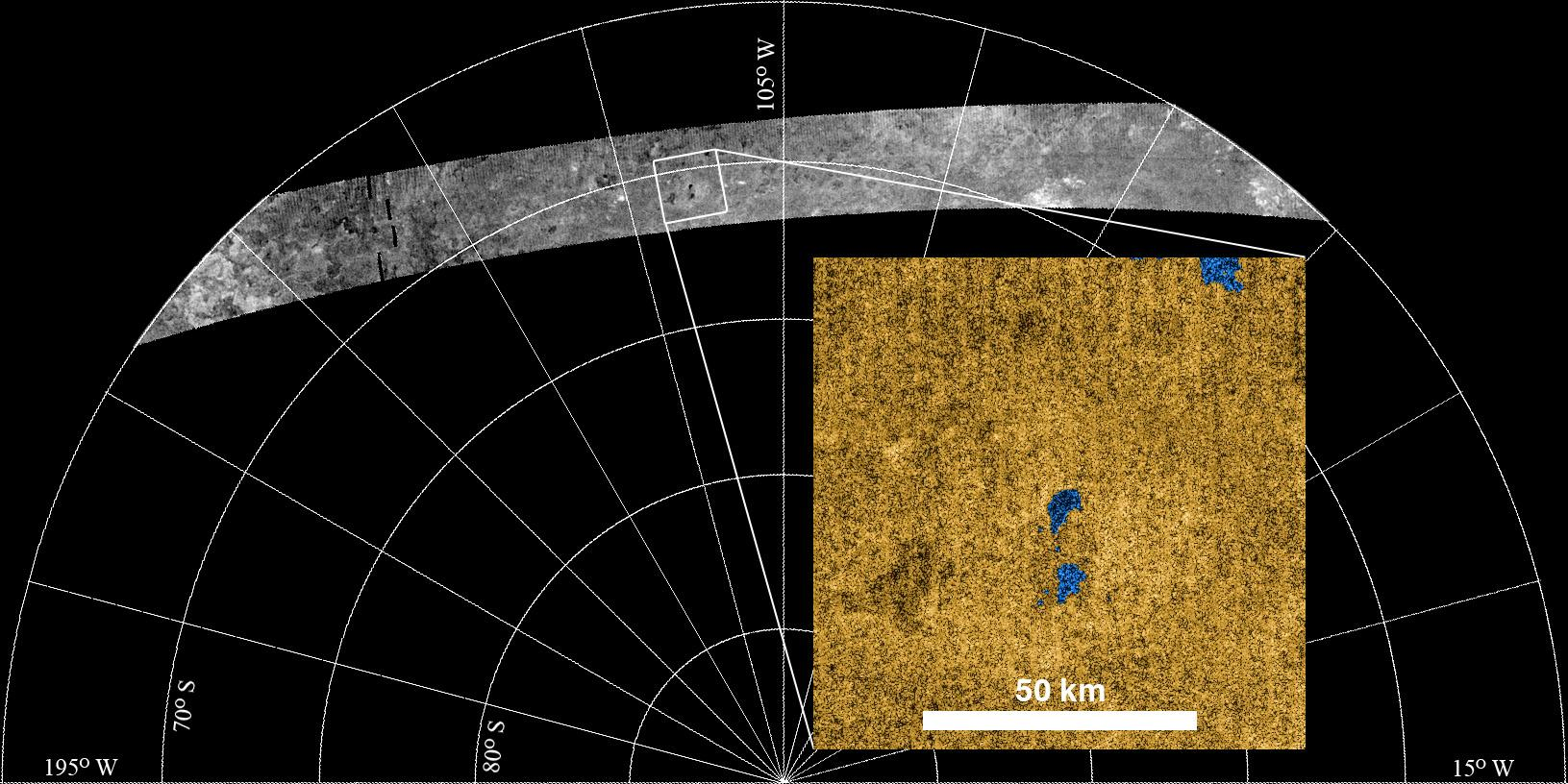 Cassini radar images of a portion of Titan's surface on an illustration showing the relative size of the moon