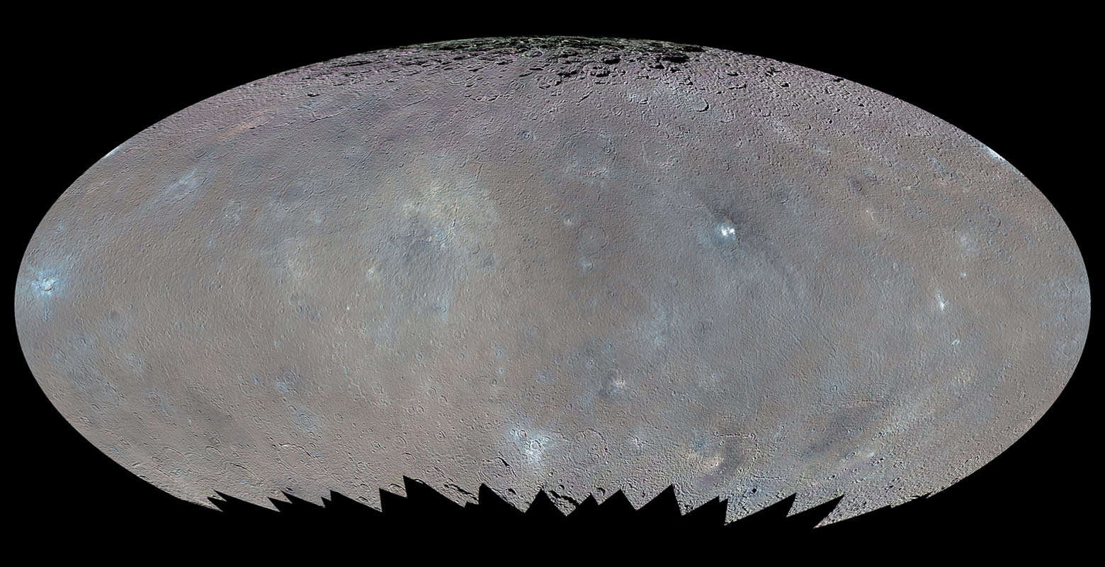 Color Map of Ceres (Elliptical Projection)