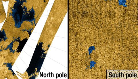 Side by side views of Titan's North and South pole regions.