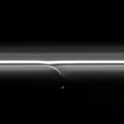 Prometheus slowly collides with the diffuse inner edge of Saturn's F ring