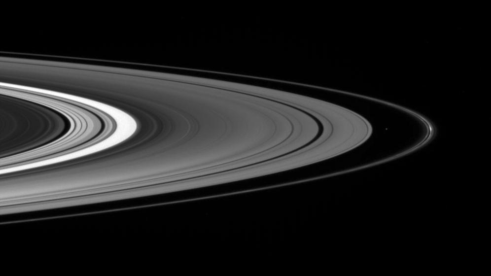Saturn's rings and the moon Atlas