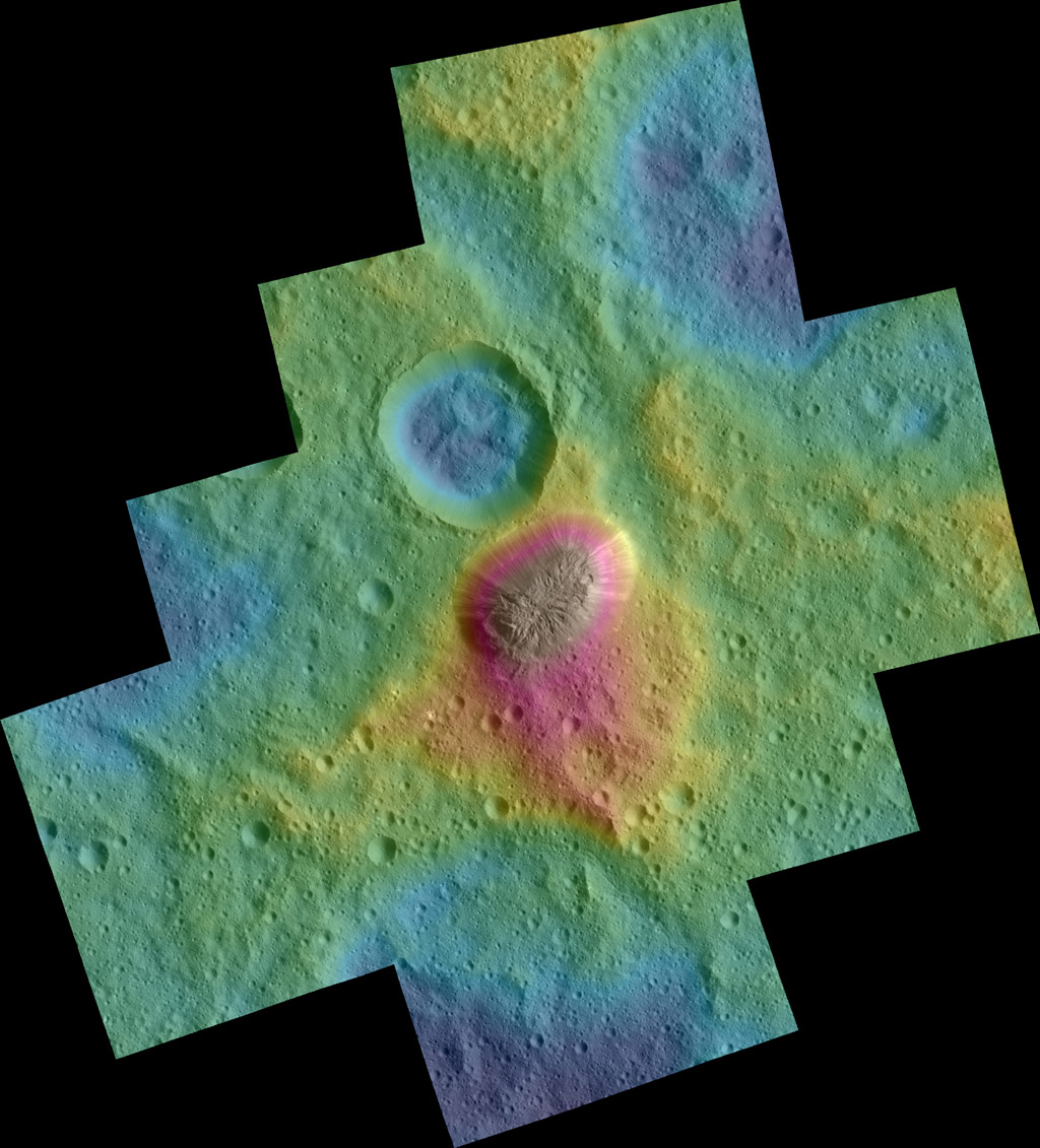 Dawn Color Topography of Ahuna Mons on Ceres