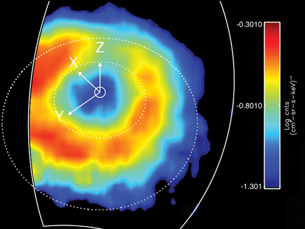 This is a false color map of the intensity of the energetic neutral atoms emitted from the ring current through a processed called charged exchange.