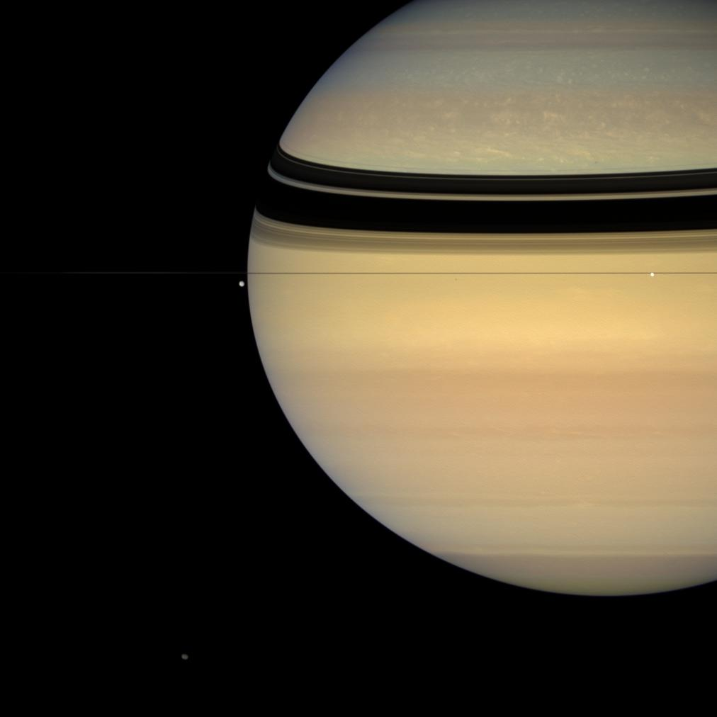 Saturn, Tethys, Enceladus, Hyperion and Epimetheus