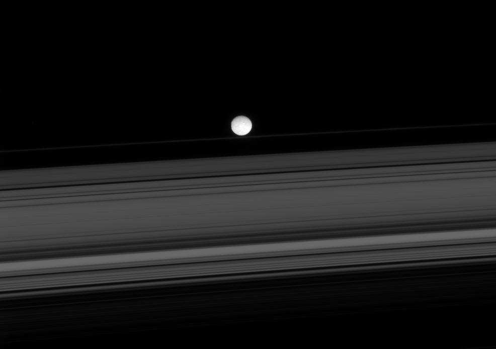 Saturn's rings and Mimas