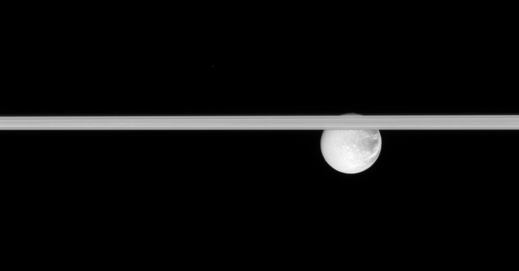 Saturn's rings and Dione