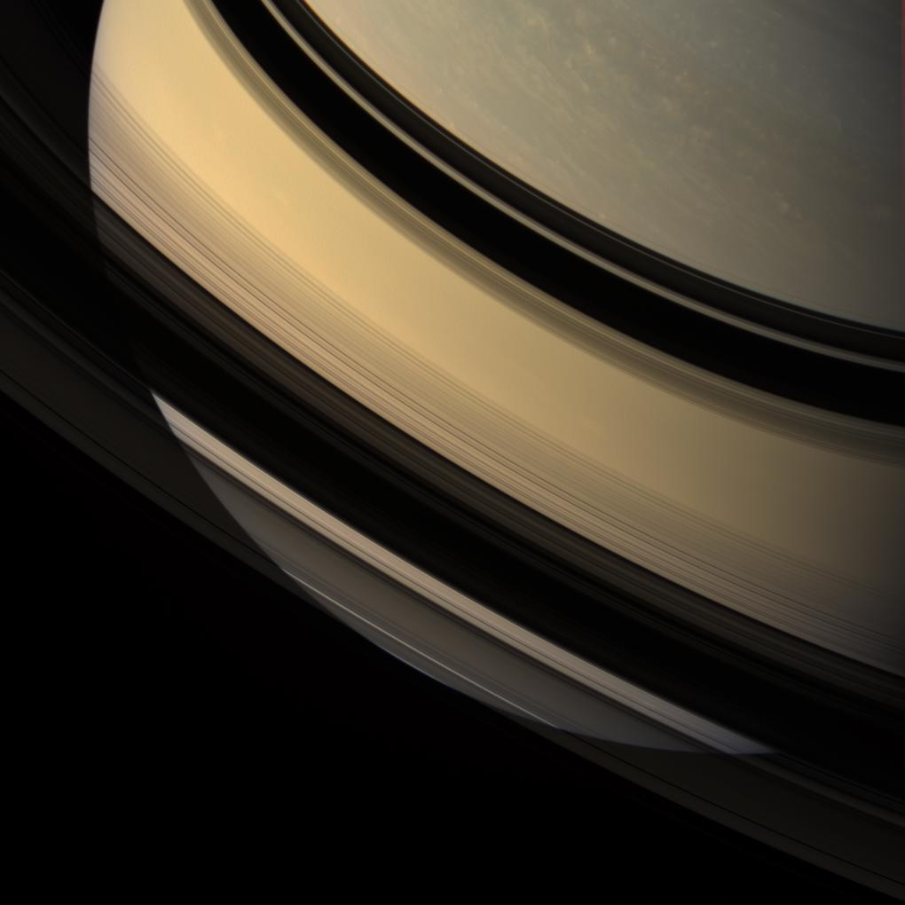 Saturn seen through its rings