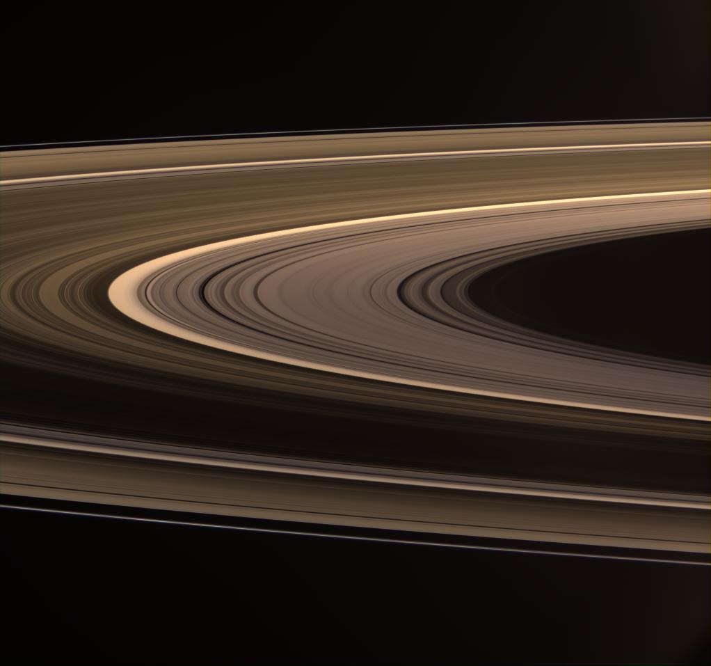 Saturn's rings shine in scattered sunlight