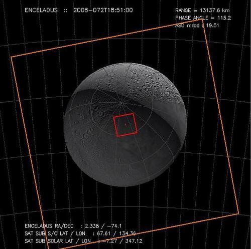 Computer generated view of Enceladus
