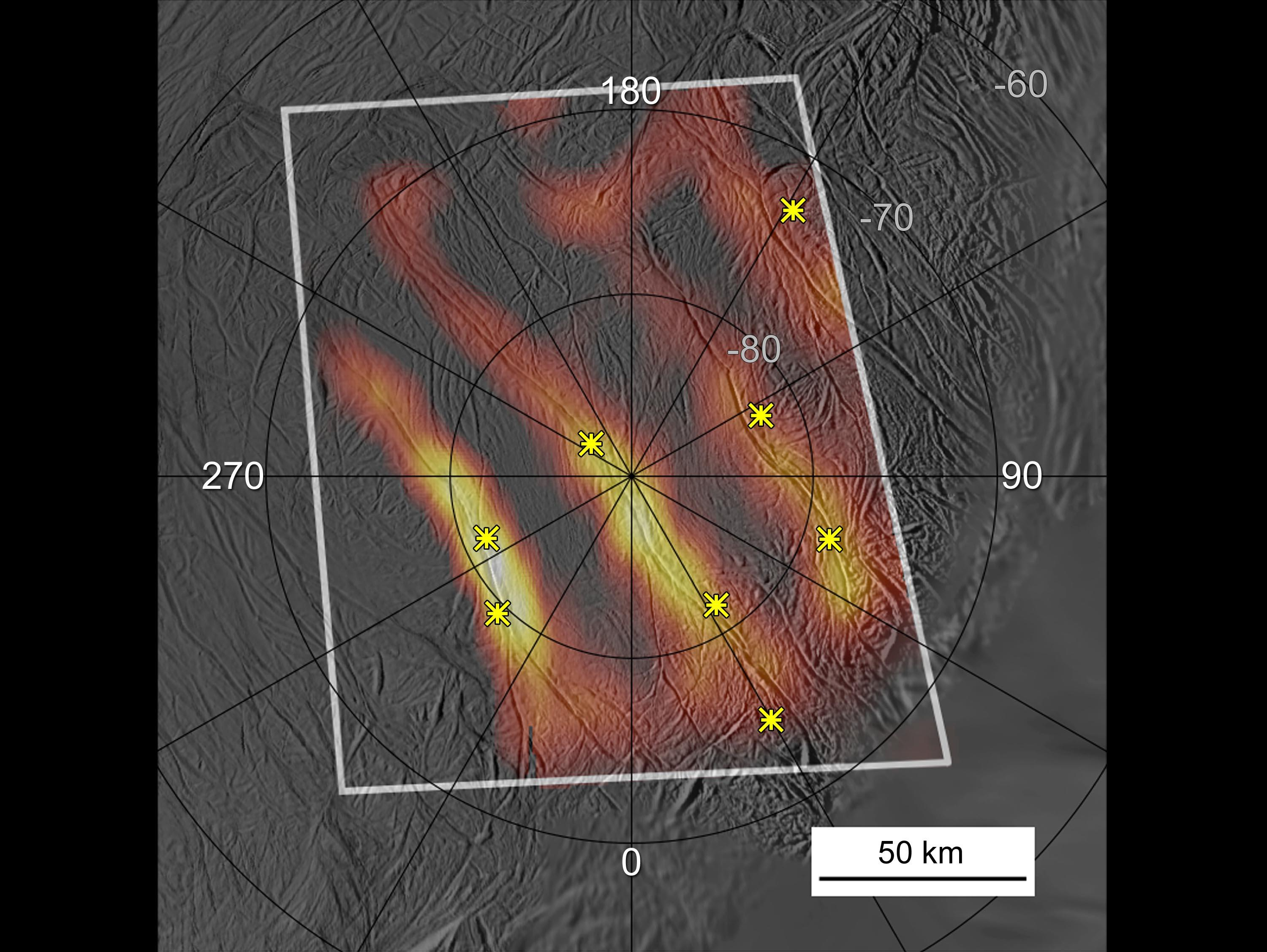 Annotated heat map of the active south polar region of Enceladus