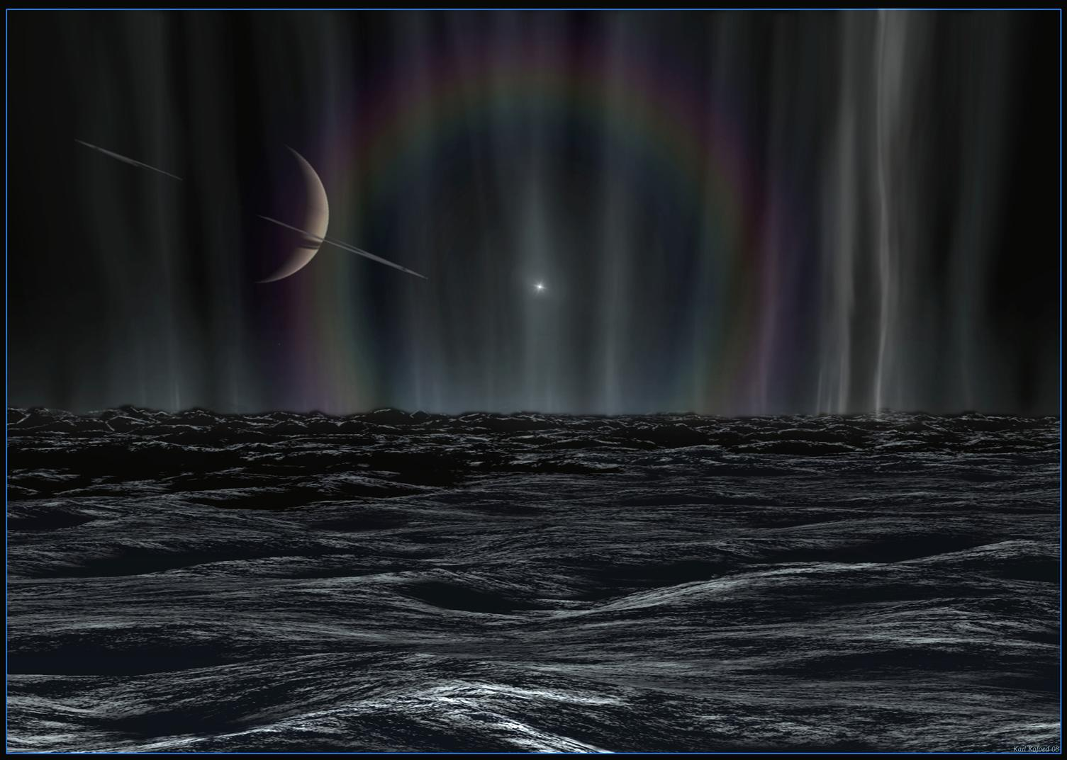 Artist's rendition of a sunset on Enceladus