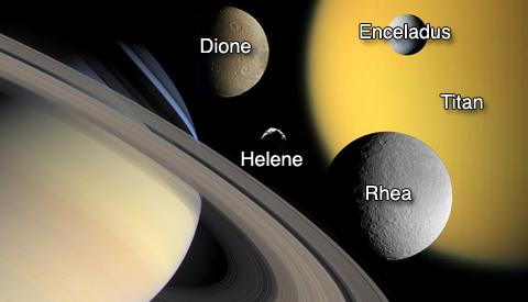 Saturn and the moons Titan, Enceladus, Dione, Rhea and Helene