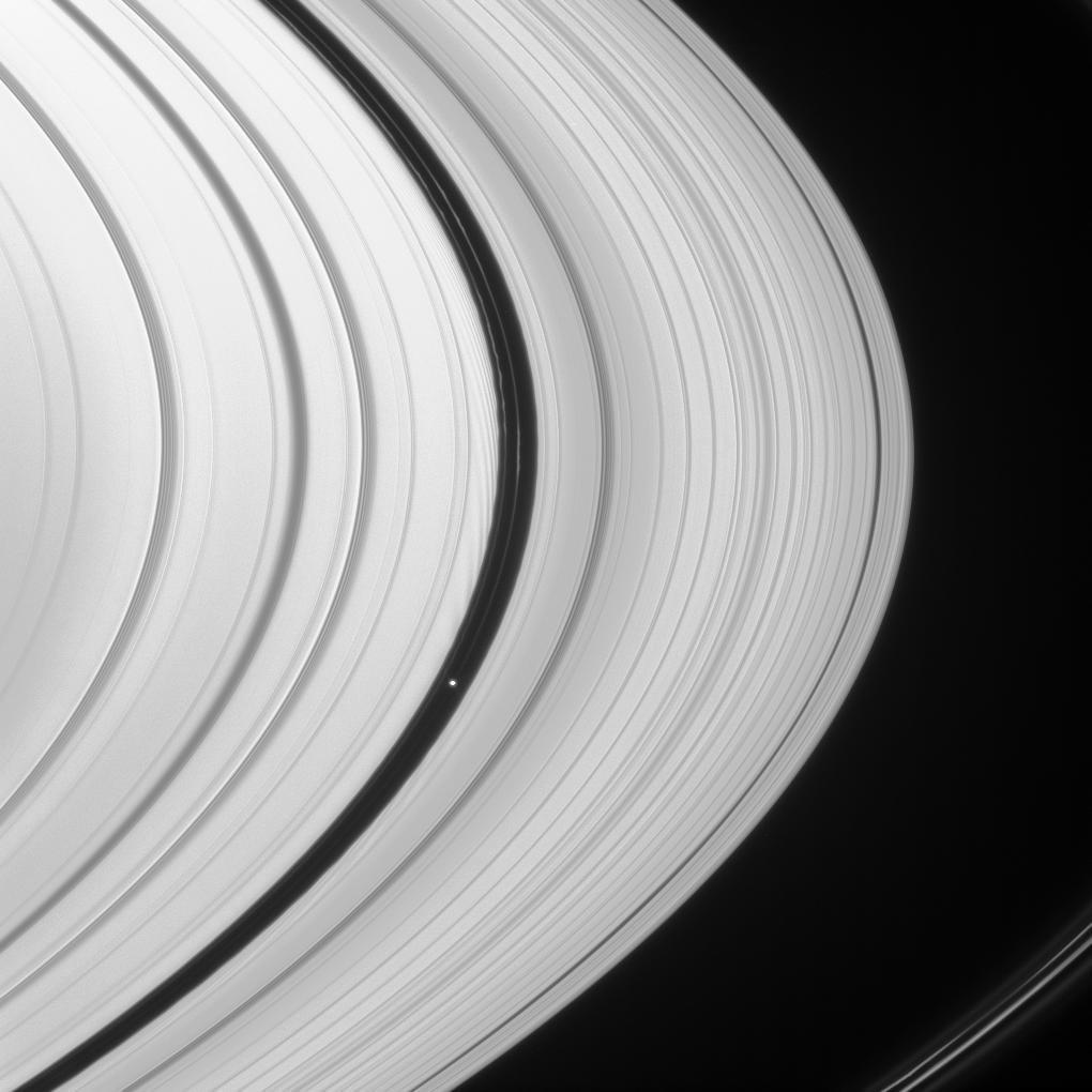 Saturn's rings and the moon Pan