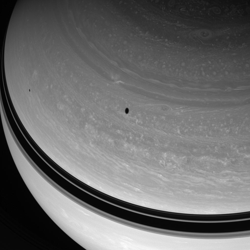 Saturn, Tethys and Mimas.
