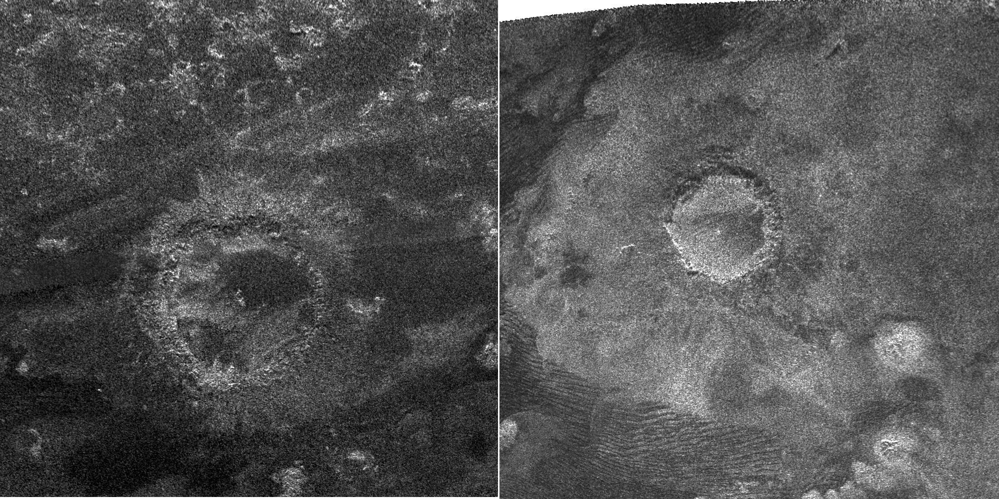 Side-by-side view of two impact craters on Titan.