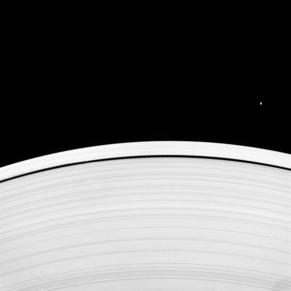 The moons Atlas and Daphnis and Saturn's rings