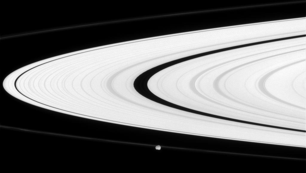 Saturn's rings and the moon Epimetheus