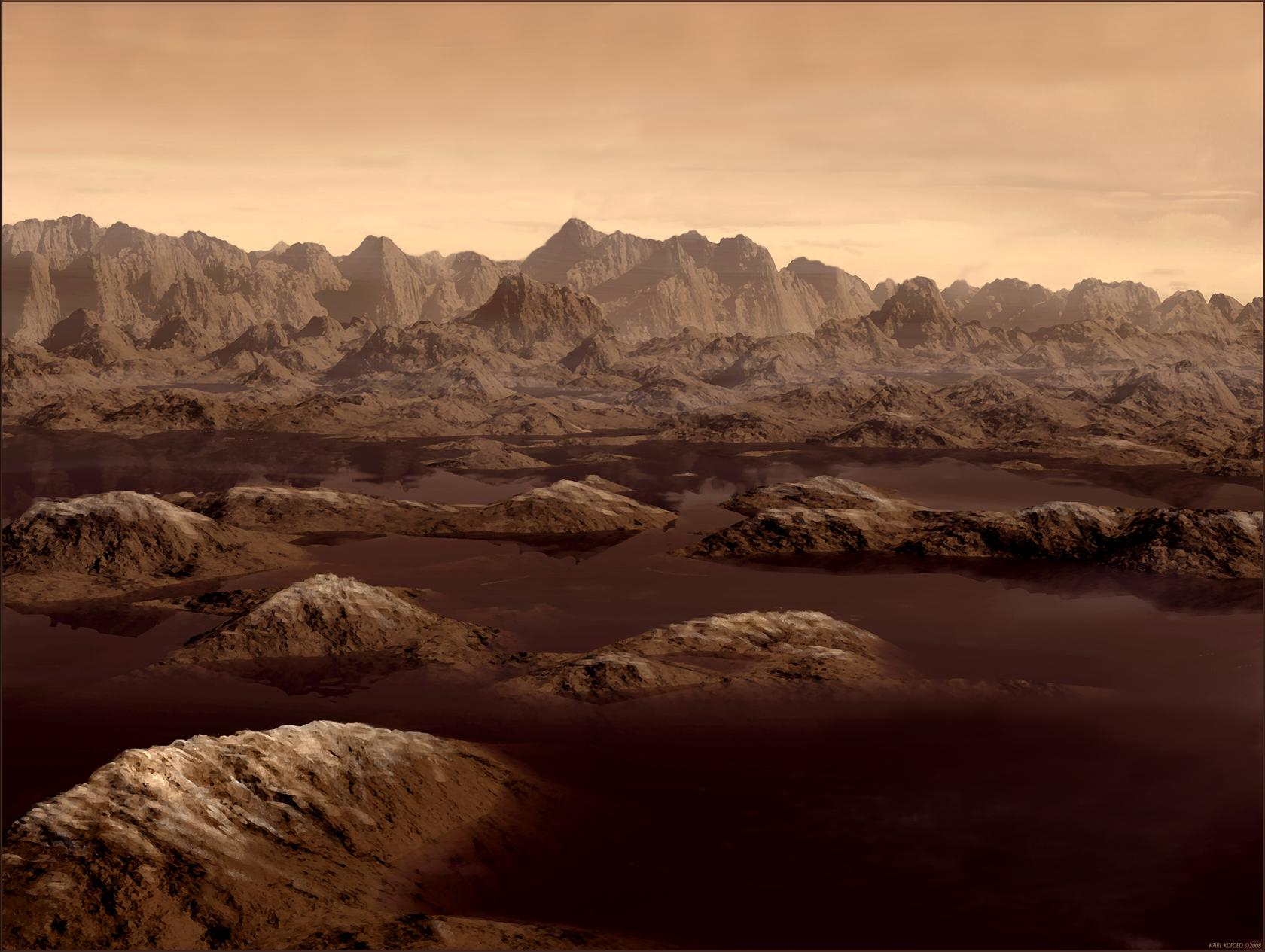 Artist's rendition of lakes on Titan