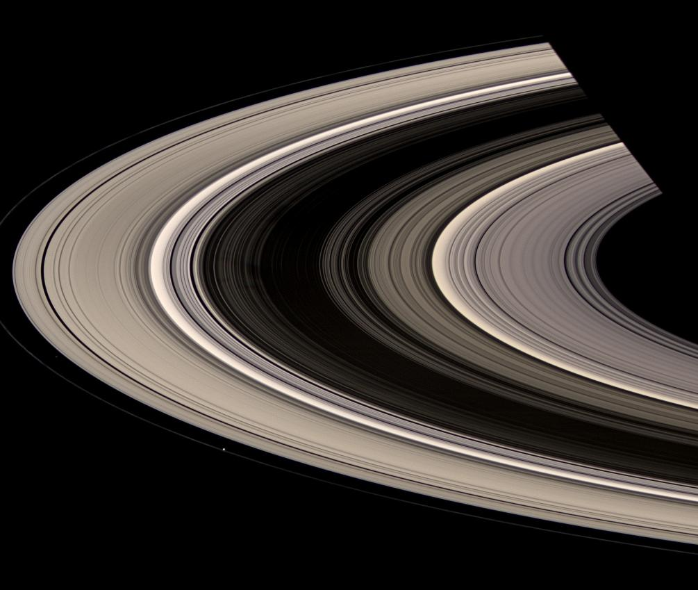 Saturn's magnificent rings, Atlas and Prometheus