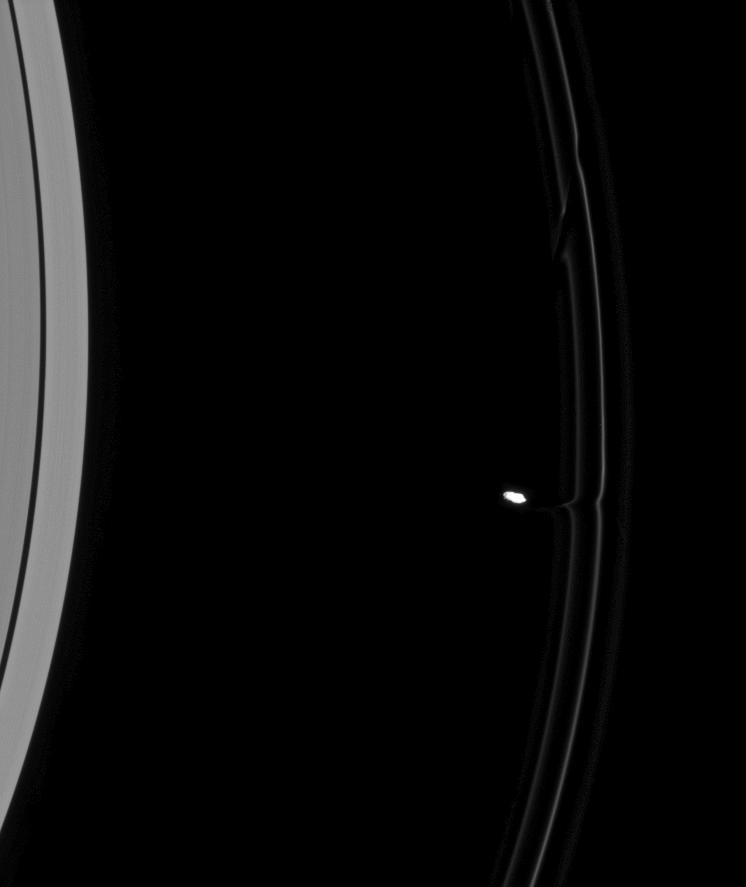 Prometheus pulls material away Saturn's F ring
