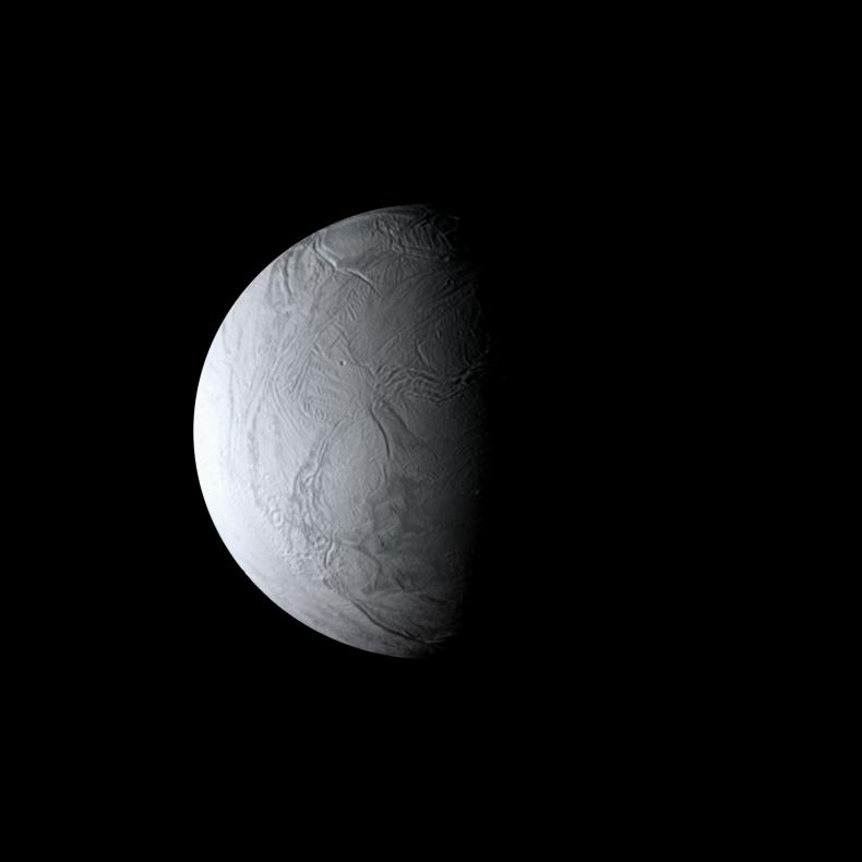 Enceladus' wrinkled south polar region