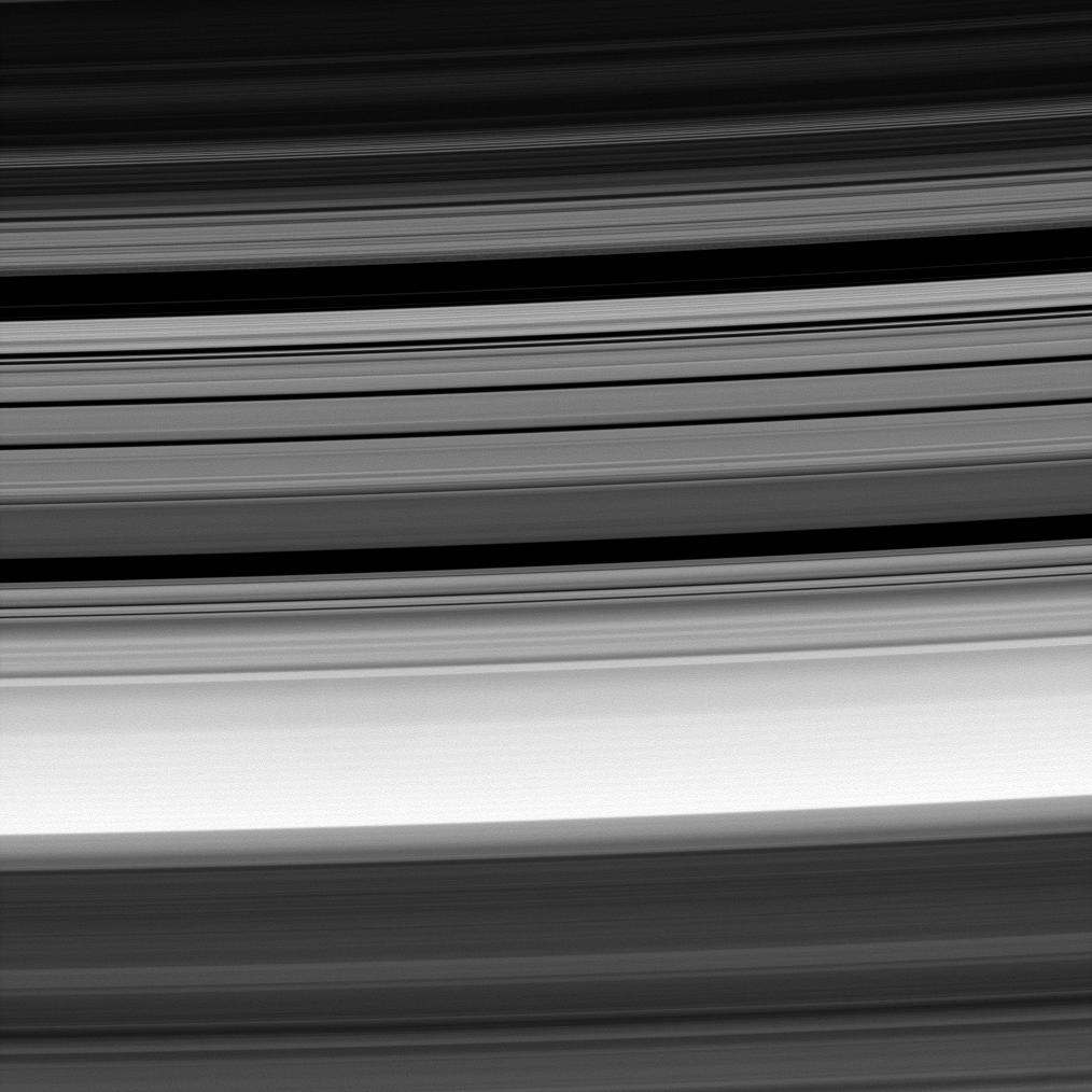 Saturns rings -- at center is the Cassini Division, flanked at top and bottom by the outer B-ring edge and the inner A-ring edge, respectively.