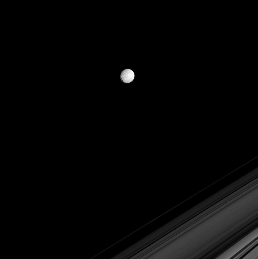 Mimas and a part of Saturn's rings