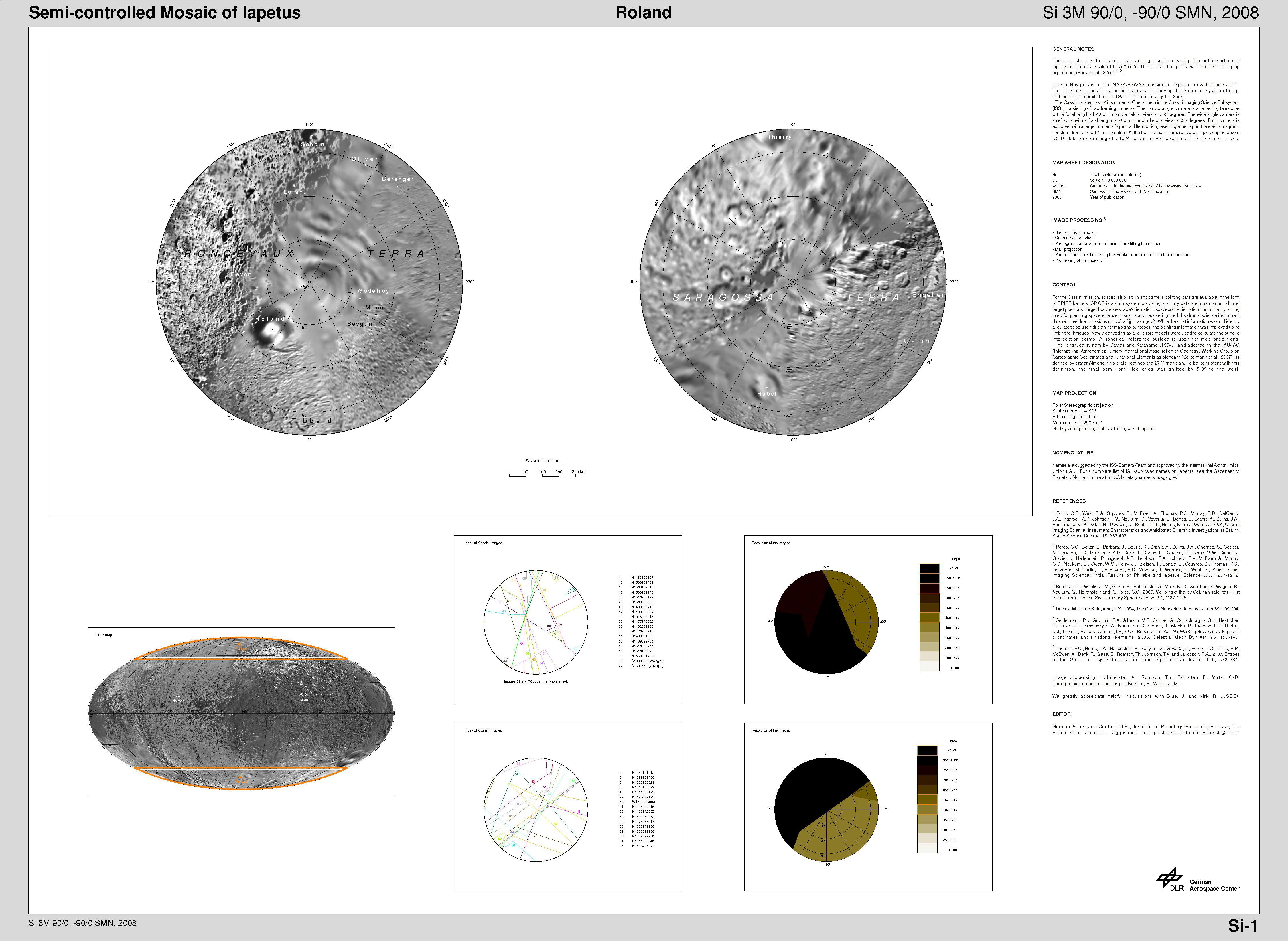 Cartographic map sheets of Iapetus