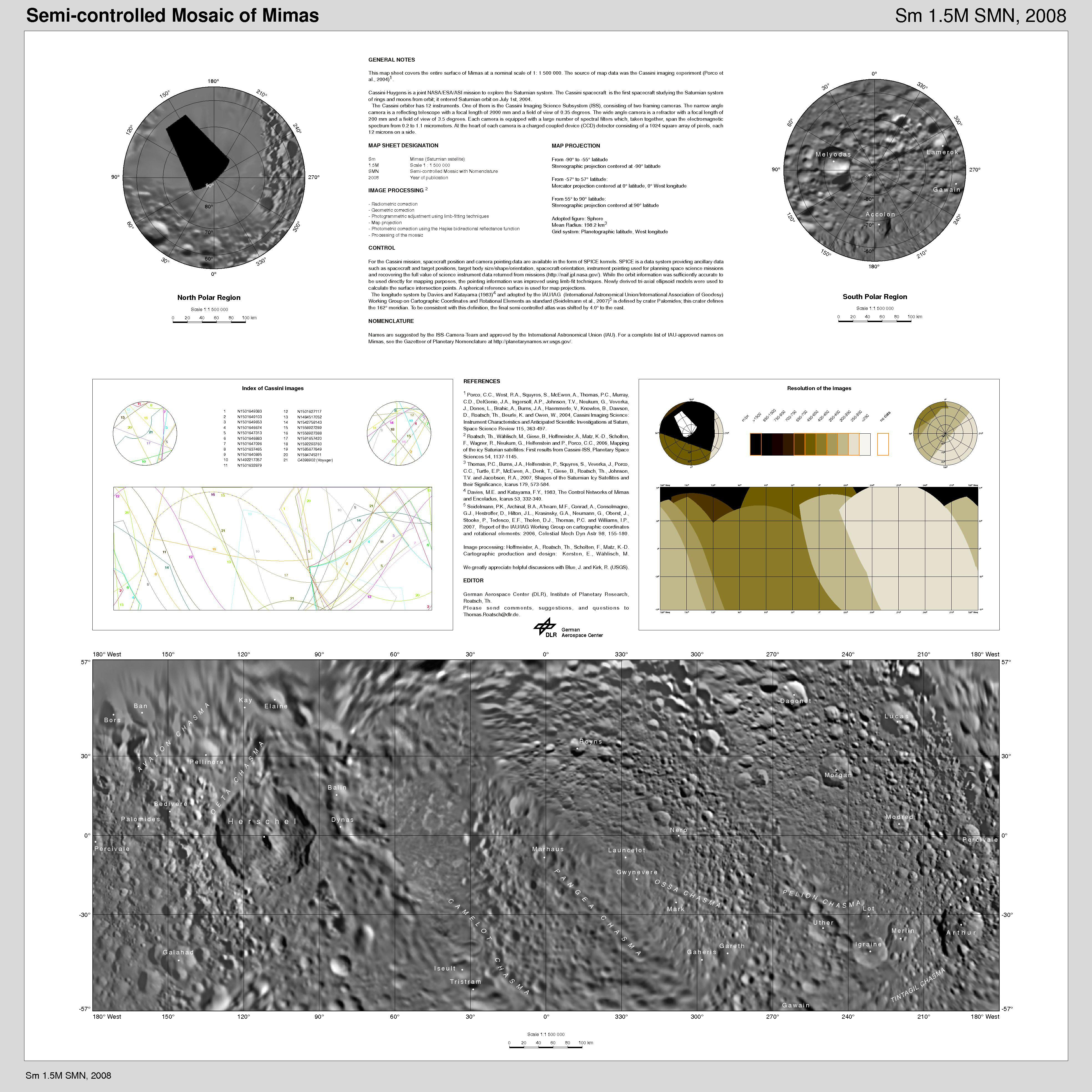 cartographic map sheet which forms a high-resolution Mimas atlas