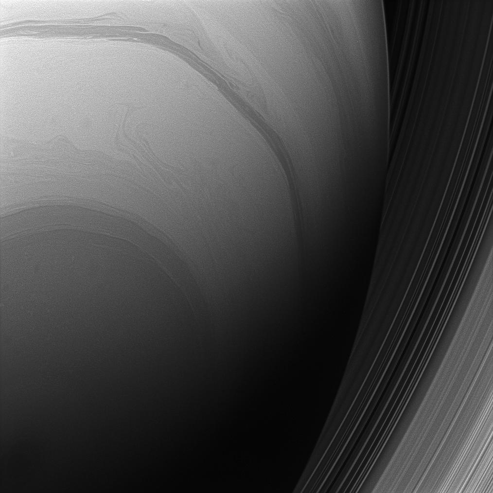 The Cassini spacecraft looks upward at the swirling clouds of Saturn's southern hemisphere.