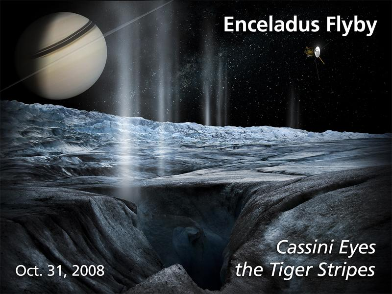 Artist's rendition of the Oct. 31, 2008 Enceladus flyby