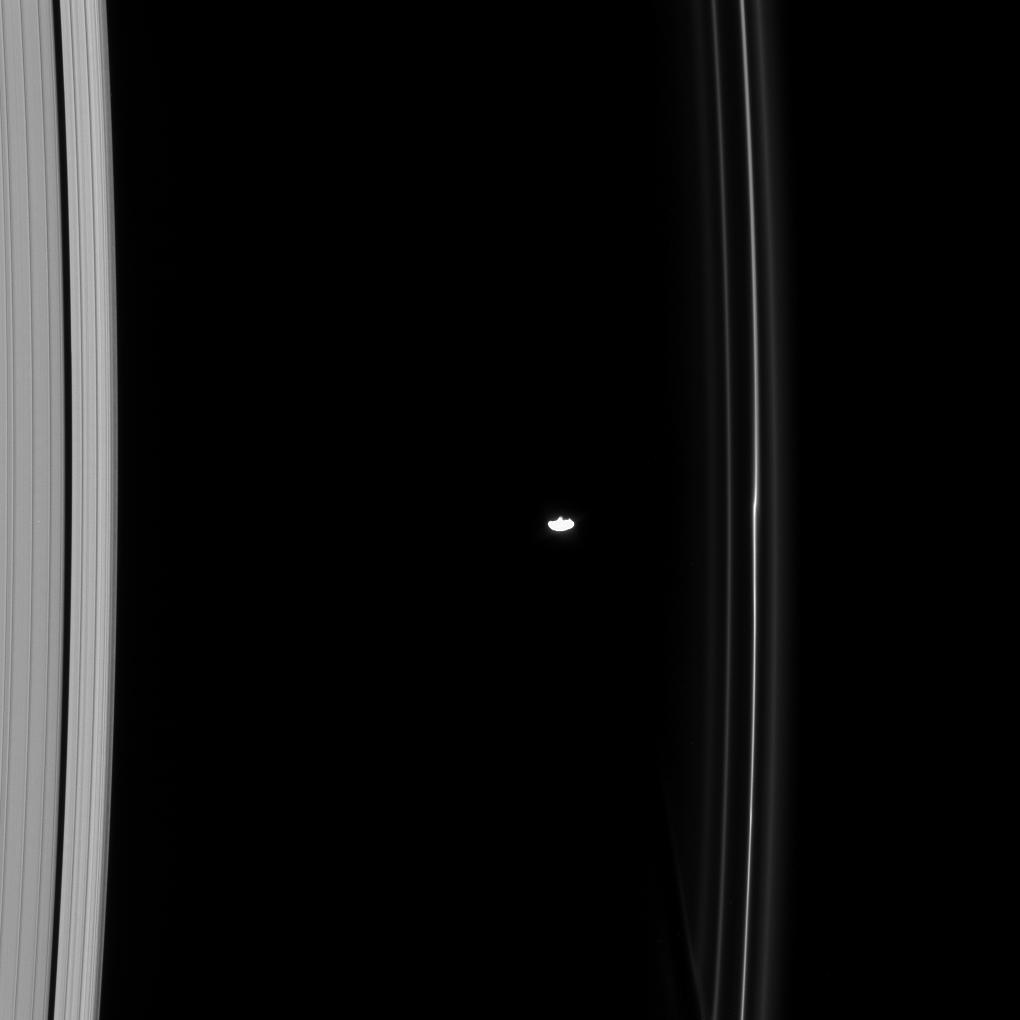 Prometheus between the A and F rings