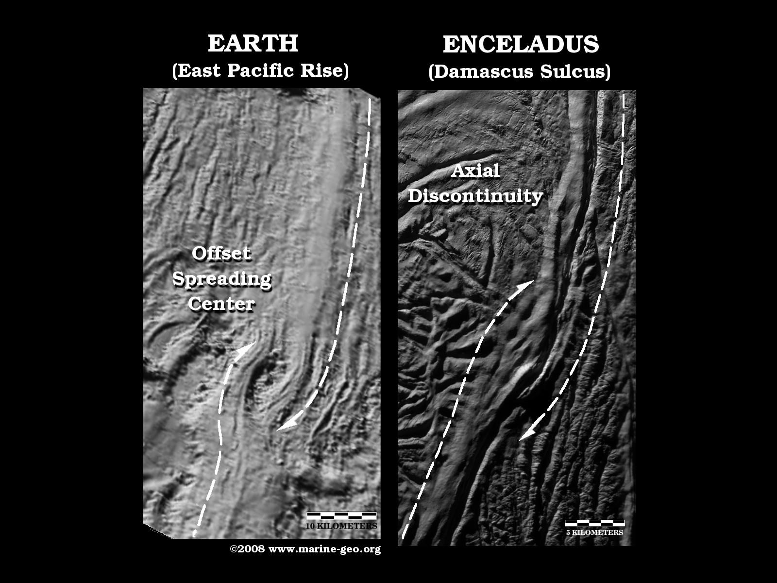 "These two side-by-side images compare a ""twisted"" sea-floor spreading feature on Earth, known as an Offset Spreading Center (OSC), to a very similar looking twisted break, or axial discontinuity, in the Damascus Sulcus ""tiger stripe"" on Saturn's moon Enceladus."