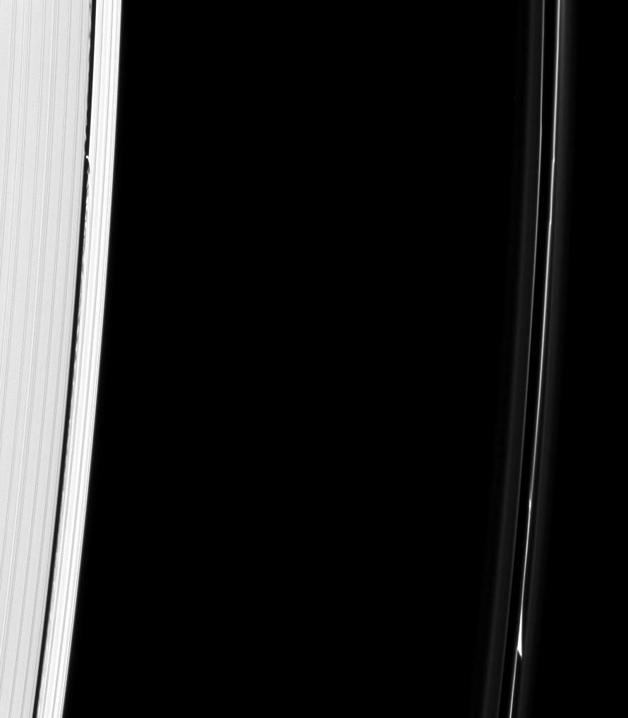 The F ring and outer edge of the A ring