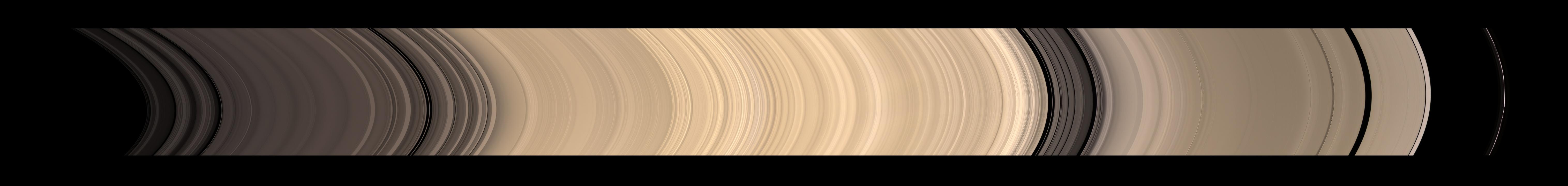 Saturn's rings, in a mosaic constructed from 45 images