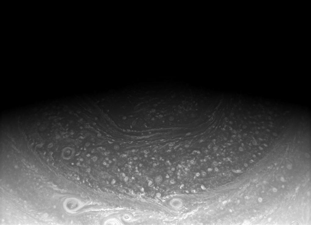 Saturn's north pole hexagon, seen here in an image from the Cassini spacecraft.