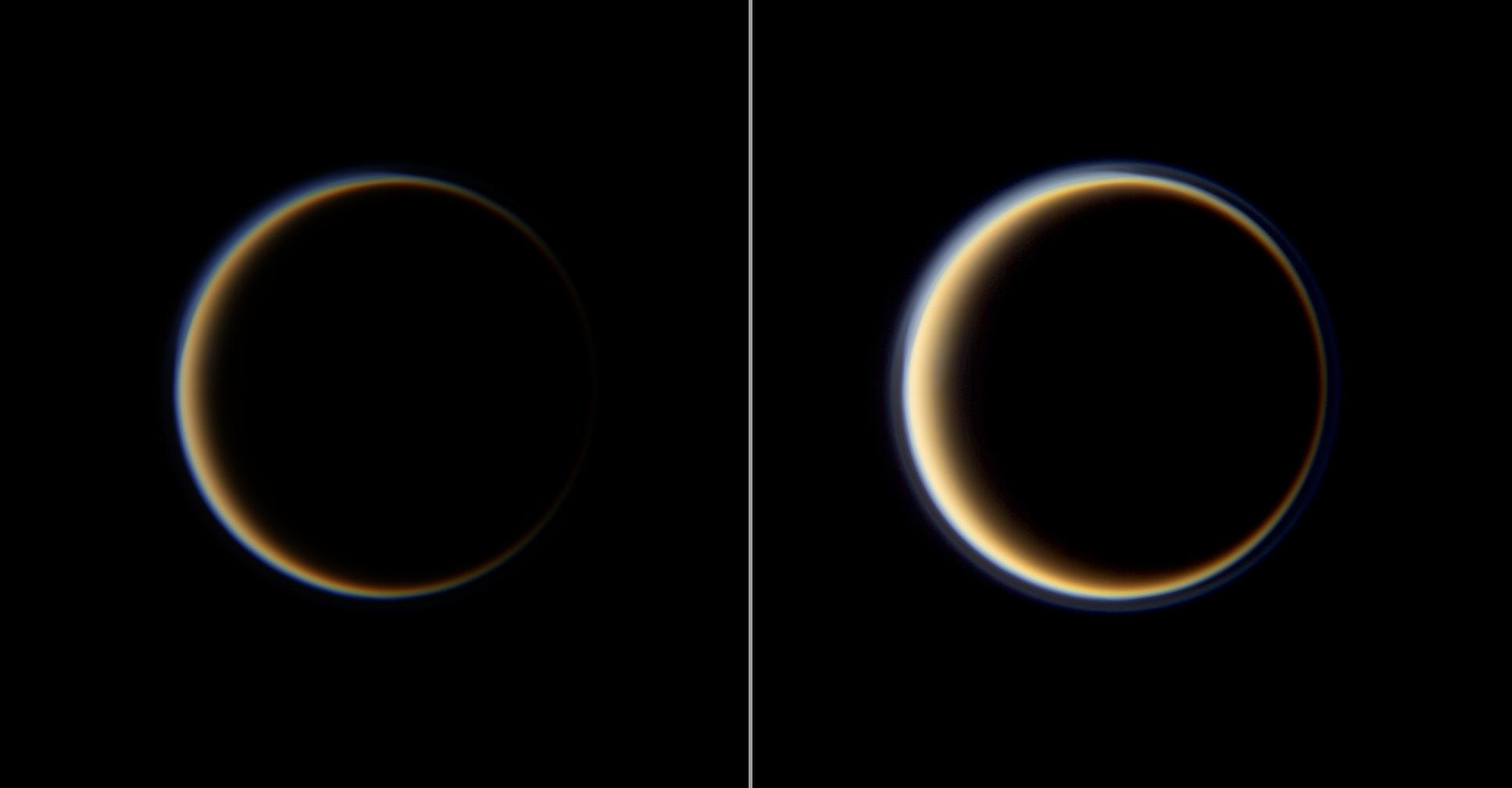 Two views of the Saturn-facing side of Titan