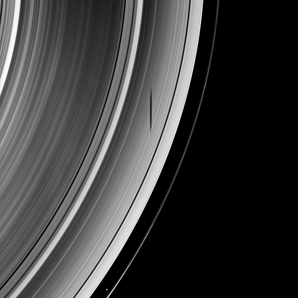 Mimas' shadow graces Saturn's A ring