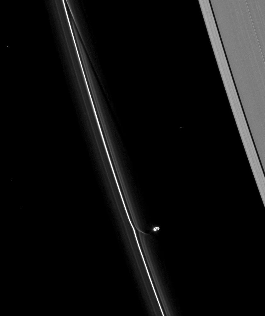 Prometheus interacts with the F ring