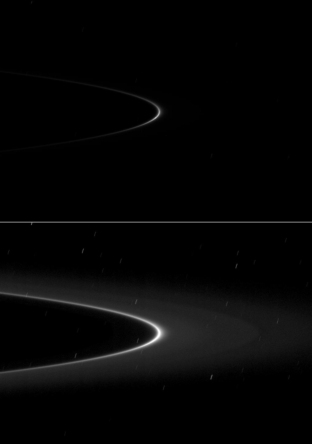 A small moonlet is just visible as a short streak near the ansa of the G ring arc in the top of two versions of the same image.